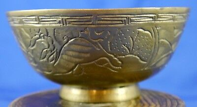 Antique Chinese Heavy Brass Footed Bowl. Engraved Floral Panels. Signed VT 1925