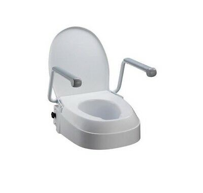 Raised Toilet Seat With Armrests -3 Fixed Adjustable Seat Height 6cm, 10cm &15cm