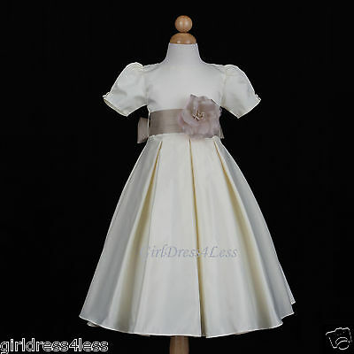 New Ivory Royal Wedding Formal Pleated Dance Bridemaids Party Flower Girl Dress
