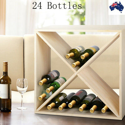 24 Bottles Timber Wine Rack Wooden Storage Organiser Stand Age Display Stackable