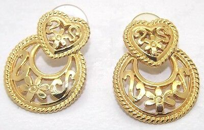 Vintage Gold  Ornate Victorian Style Heart Door Knocker Earrings Signed