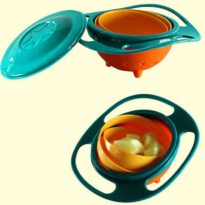 Children Baby 360 Rotate Gyro Food Dishes Spill-Proof Toddler Training Bowl