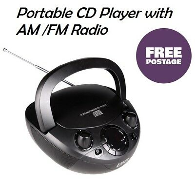 CD Player MP3 AM FM Radio Portable Compact Music System Boomobx AUX Carry Handle