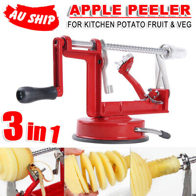 AU 3in1 Apple Peeler Red Kitchen Tool Slinky Machine Fruit Cutter Slicer Corer