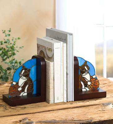 """Decorative Stained Glass Cat Bookends, Set of 2, 6.25""""L x 4""""W x 7.25""""H"""
