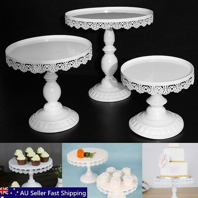 White Round Iron Cake Dessert Stand Wedding Birthday Party Holder Decor 20-30cm