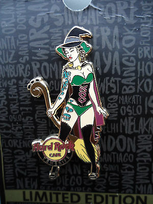 Hard Rock Cafe Tenerife - Sexy Witch with Broom - Girl Series Pin on Card # 5