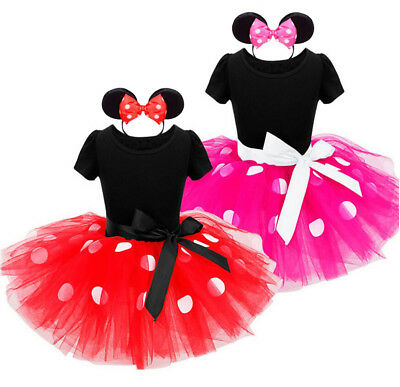 Cute Toddler Baby Kids Girls Princess Cartoon Minnie Tulle Party Tutu Dress 0-6Y