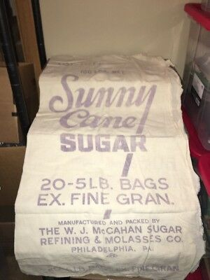 Vintage Sunny Cane SUGAR SACK Philadelphia PA Cloth Bag Refining Co 100 Lb Size