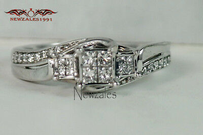 1CT Princess-Cut Diamond Solitaire Engagement Ring 10K White Gold Finish