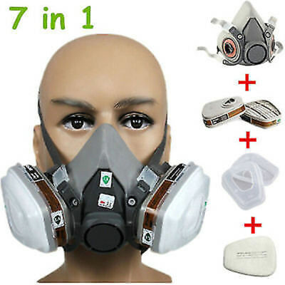 3M 6200 7 Piece Suit Respirator Painting Spraying Face Gas Half Mask & Filters