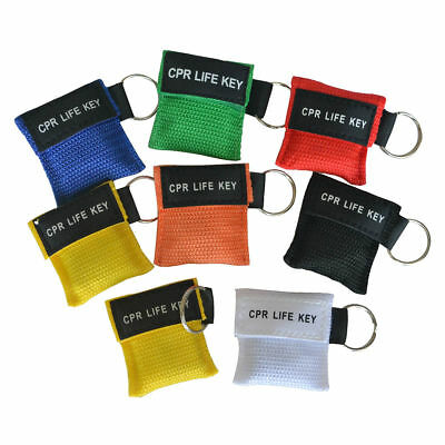 100 X Transparent Emergency CPR Mask Mix Colors CPR Mask Keychain Bags Random