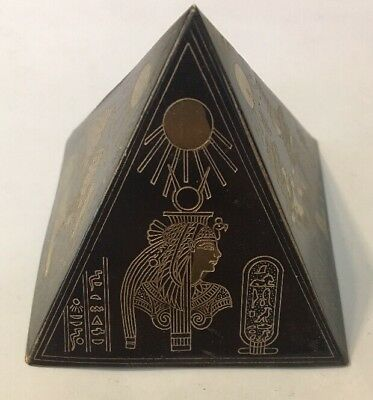 Vintage Bronze Egypt Pyramid Etched Brass & Copper Mixed Metal Souvenir