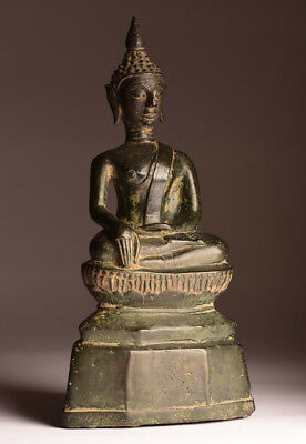 Antiker Buddha LAOS 18. Jhd. ORIGINAL 28 cm Bronze antique alt Yoga