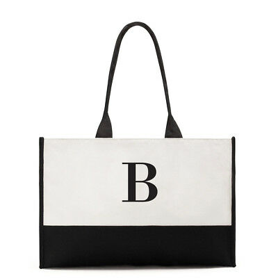 Tote Bag Premium Canvas Black and White First Initial Two Tone Design