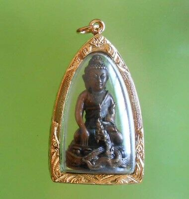 Perfect! Old Amulet Phrakrng Lp Kambu Very Rare From Siam !!!