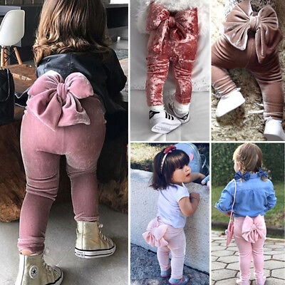 Kids Baby Girls Princess Bowknot Velvet Bottoms Pants Leggings Trousers 6M-5T