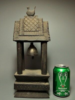 Bronze Handbell Thai Karen Hill Tribe Pavilion Cock Roof Figure Wood Stand 14""