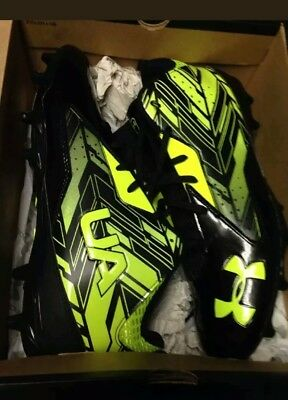 NEW Under Armour Ripshot Mid MC Lacrosse Football Cleats Size 12 Black & Neon