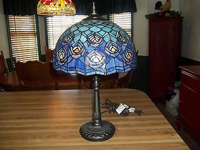 """Gorgeous tiffany style 19"""" handcrafted stained glass peacock feather table lamp"""