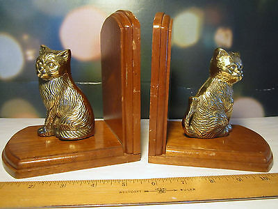 CATS Brass and Wood Bookends cast metal vintage fluffy sculpted 5.5 x 6 PAIR