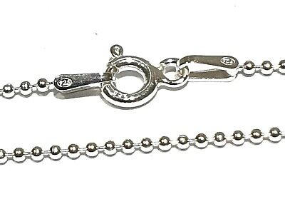 REAL 925 SOLID GENUINE 925 STERLING SILVER BALL BEAD CHAIN NECKLACE - 1mm