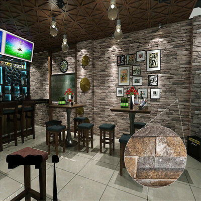 10M Roll 3D Stacked Brick/Stone Wall Wood Grain No Sticker Brown Vinyl Wallpaper