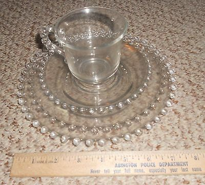 Vintage Imperial Candlewick 4pc Set Hobnail Teacup Cup Saucer Plates Clear Glass