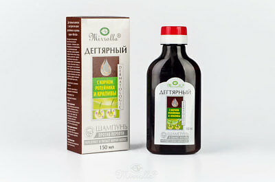 """Tar shampoo """"Mirrolla""""with the extract of burdock and nettle against dandruff"""