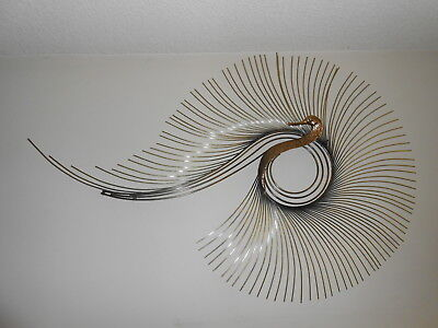 Curtis Jere Mid-Century Solid Brass Peacock Wall Art Sculpture
