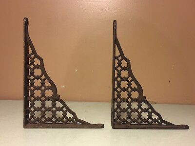 Lot Of 2 Matching Pair Vintage Cast Iron Shelf Bracket Lattice Corbels Ornate