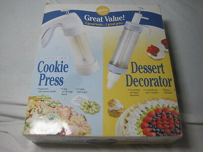 NIB! 2003 WILTON Great Value 2 TOOLS-  COOKIE PRESS & DESSERT DECORATOR