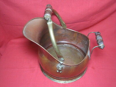 Vintage Copper Fireplace Ash Coal Scuttle Bucket Planter Made in Portugal