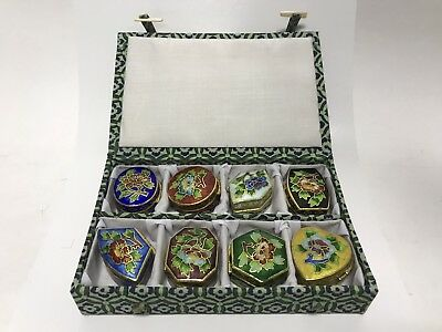 (Set Of 8) Chinese Cloisonne Small Hinged Trinket Pill Boxes In Nice Box