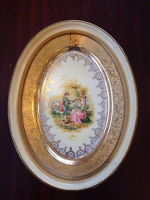 Antique Framed Plate Wall Hanging Picture Warranted 22 Karat Gold Hand Painted