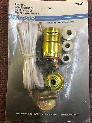Angelo Brother Electrified Candlestick & Bottle Adapter Vintage #70025 1026