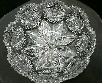American Brilliant Period hand Cut Glass bowl ABP antique Mouth blown blank ABP
