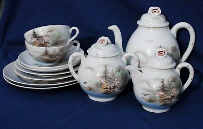 VINTAGE JAPANESE ORIENTAL HAND PAINTED EGGSHELL PORCELAIN 11piece TEA SET