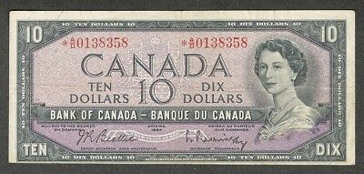 1954 $10.00 *A/D BC-40bA F-VF Very SCARCE QEII Canada ASTERISK REPLACEMENT Note