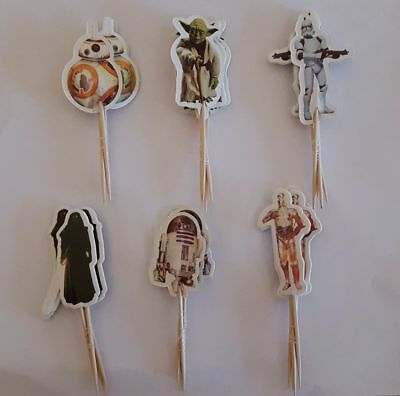 Star Wars 24 Cupcake Muffin Kuchen Toppers Käse-Picks