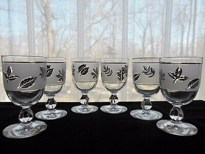 Libbey Glass 6 Silver Foliage 10 ounce Water Goblets