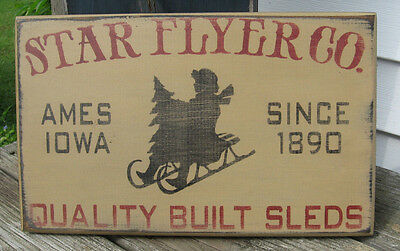 Primitive Country Star Flyer Co. Sleds Sign Winter~Christmas