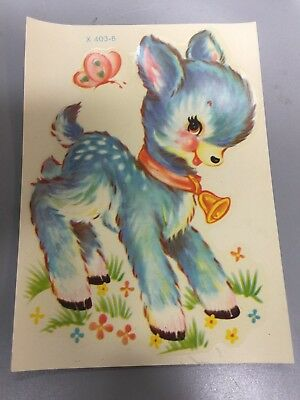 5  VINTAGE MEYERCORD DEER DECALS~kids~BABY~BUTTERFLY~fawn