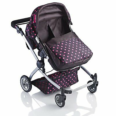 Deluxe 2 in 1 Babyboo Stroller Pushchair New Stylish Polka Dot Twin Doll Pram