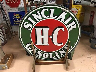 """1930's Sinclair H-C Gasoline 48"""" Double Sided Advertising Sign with metal Ring"""