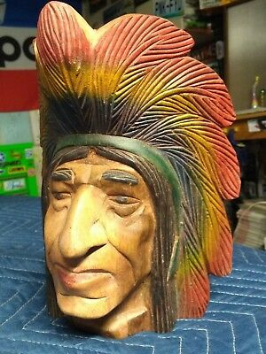 Vintage INDIAN CHIEF HEAD - made of WOOD - Hand carved and painted - Very Neat!