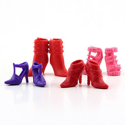 AL_ 12 Pairs Cute Colorful Assorted High Heel Boots Shoes for Barbie Doll Hot Sa