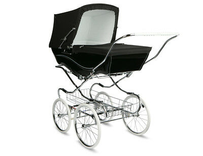 COACH BUILT PRAM IN WHITE //BLACK PRAM CANOPY AND PRAM SET TO FIT SILVER CROSS
