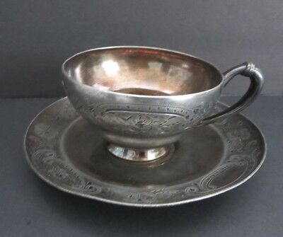 Vintage Silverplate Tea/coffee Cup + Saucer Meriden B. Company Usa