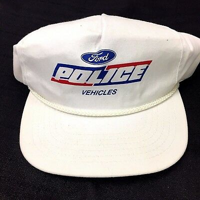 Vintage Ford Police Vehicles Hat Cap Car Law Enforcement Snapback White